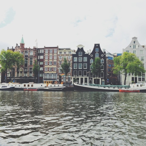 The view from a boat ride in Amsterdam.